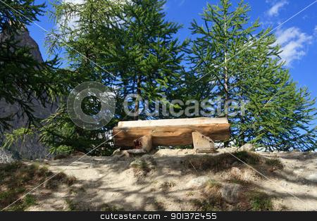 panoramic bench stock photo, wooden bench betwwen trees in Italian Alps by ANTONIO SCARPI