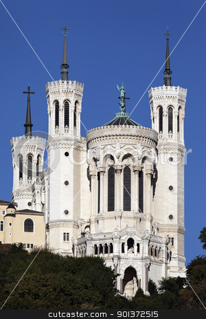 the basilica stock photo, Lyon basilica in the big blue sky  by vwalakte