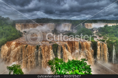 Iguasu falls stock photo, View of the Iguasu falls , Iguasu falls are the largest series of waterfalls on the planet located in the three borders of Brasil Argentina and Paraguay by Kobby Dagan