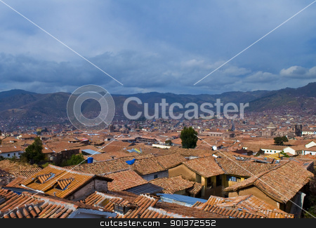 Cusco cityscape stock photo, View of the Peruvian city of Cusco the former capital of the Incan empire and