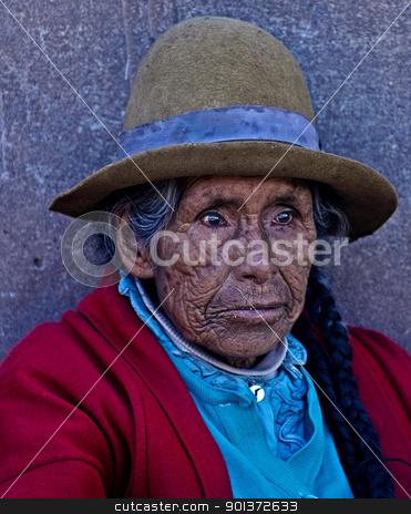 Peruvian woman stock photo, Cusco , Peru - May 27 : Portrait of Peruvian woman in Cusco Peru , May 27 2011 by Kobby Dagan
