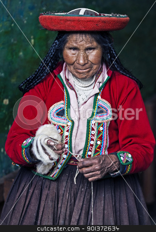 Peruvian woman weaving stock photo, Cusco , Peru - May 26 2011 : Quechua Indian woman weaving  by Kobby Dagan