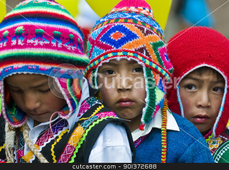 Peru education day stock photo, Cusco , Peru - May 25 : participants in the