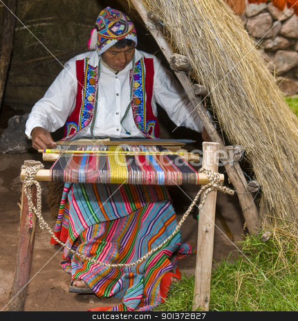 Peruvian man weaving stock photo, Cusco , Peru - May 26 2011 : Quechua Indian woman weaving with strap loom by Kobby Dagan