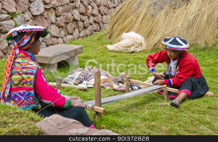 Peruvian women weaving stock photo, Cusco , Peru - May 26 2011 : Quechua Indian women weaving with strap loom by Kobby Dagan
