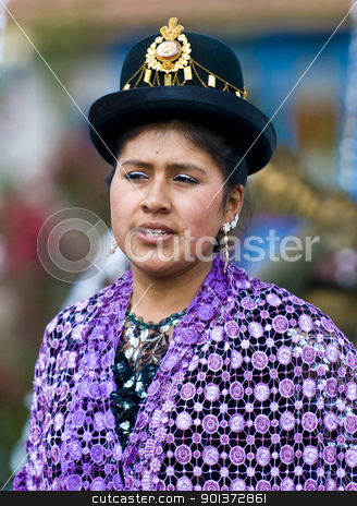 Peruvian dancer stock photo, Cusco , Peru - May 25  : Portrait of Peruvian dancer with traditional clothes dancing in street in Cusco Peru on May 25 2011 by Kobby Dagan