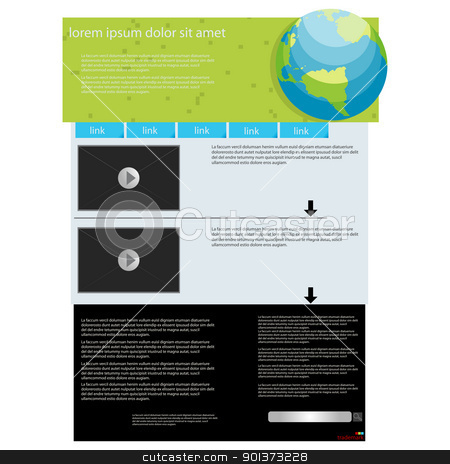 web page layout template stock vector clipart, Video feature web page layout, abstract art by Richard Laschon