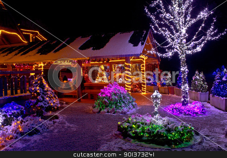 Christmas fantasy - lodge and tree lights stock photo, Christmas fantasy lodge and tree lights, Cazma, Croatia by xbrchx