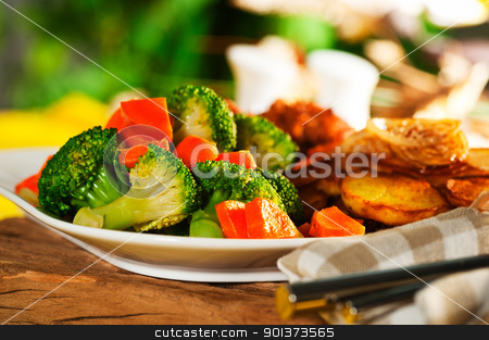 Fried potatoes broccoli carrots and roasted chicken stock photo, Fried potatoes broccoli carrots and roasted chicken by p.studio66