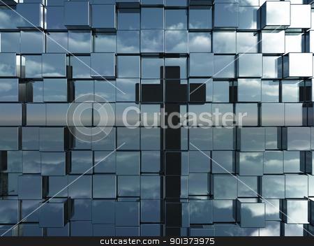 faith stock photo, cubes wall reflect christian cross - 3d illustration by J?