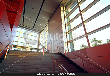 modern building and red metal wall indoor stock photo, modern building and red metal wall indoor by Keng po Leung