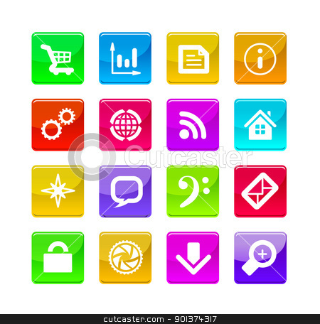 application icons stock photo, Vector color application icons isolated on white background by sermax55