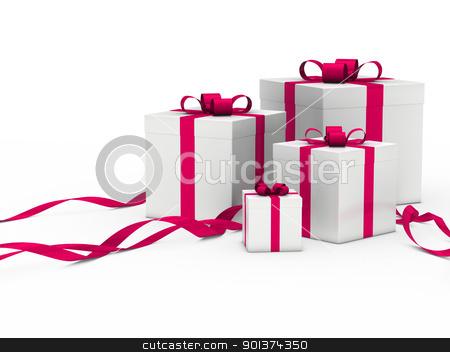gift box white pink ribbon stock photo, 3d gift box white with pink ribbon by d3images