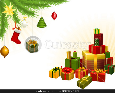 Christmas tree decorations and gifts stock vector clipart, Christmas corner background elements. Christmas tree, balls and gifts. Corners can be moved for more space in centre by Christos Georghiou