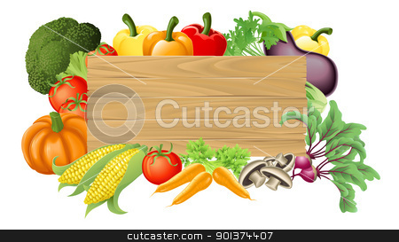 Vegetable wooden sign illustration stock vector clipart, Illustration of a wooden sign surrounded by fresh vegetables by Christos Georghiou