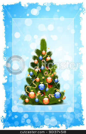 Christmas Card Template stock vector clipart, Christmas Card template with fir-tree sparkles and decoration for your design by Vadym Nechyporenko
