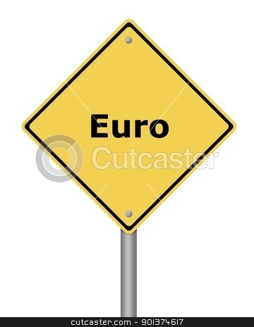 Warning Sign  stock photo, Yellow warning sign on white background with the text euro by Henrik Lehnerer