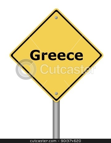 Warning Sign Greece stock photo, Yellow warning sign on white background with the text Greece by Henrik Lehnerer