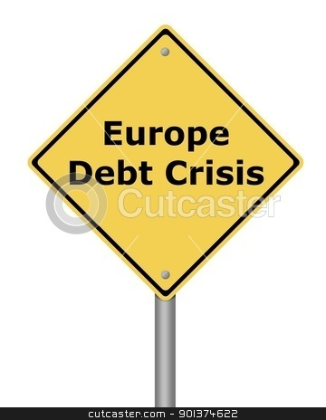 Warning Sign Europe Debt Crisis stock photo, Yellow warning sign on white background with the text  Europe Debt Crisis by Henrik Lehnerer