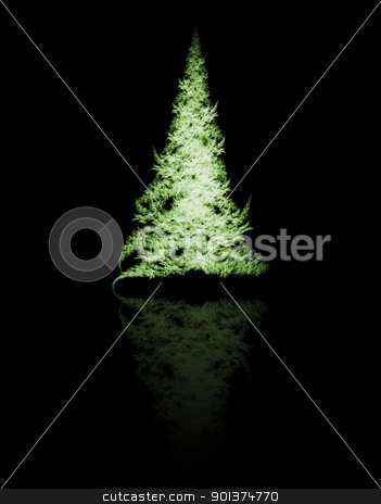 Fractal Christmas tree stock photo, Fractal Christmas tree on black background by orson