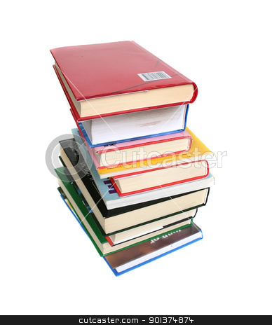 Books, books, books stock photo, Lot of books on white background by orson