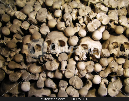 Skulls and bones stock photo, Skulls and bones from charnel-house by orson