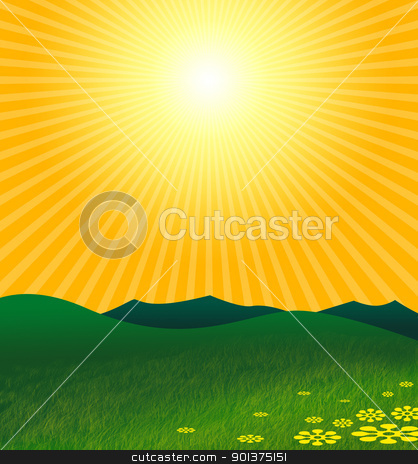The hot summer in green landscape stock photo, The hot summer sun under green land by orson