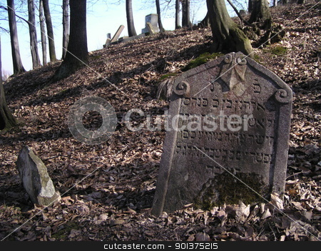 Jewish tombstone stock photo, Jewish tombstone from jewish cemetery by orson