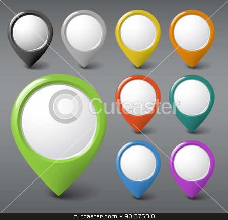 Set of round 3D pointers with place for your content stock vector clipart, Set of round 3D pointers with place for your content - green version (check my portfolio for more) by orson