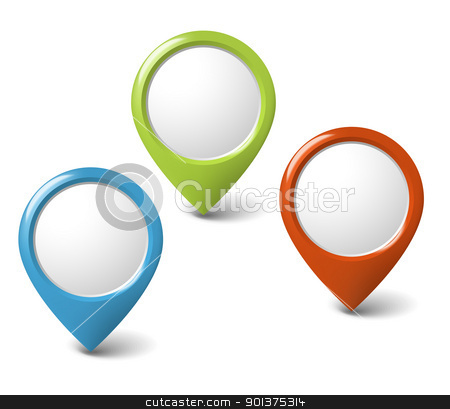 Set of round 3D pointers with place for your content stock vector clipart, Set of round 3D pointers with place for your content - red, green, blue by orson