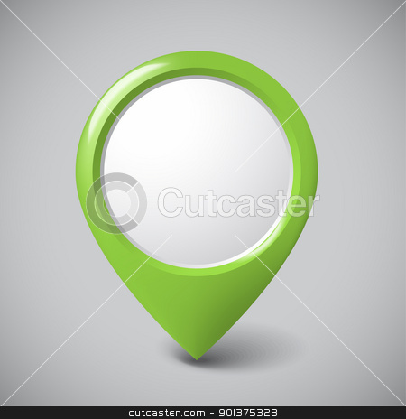 Round 3D pointer with place for your content stock vector clipart, Round 3D pointer with place for your content - green version (check my portfolio for more) by orson