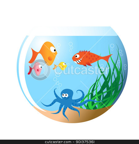 Various fishes in aquarium stock vector clipart, Various fishes in aquarium - cartoon illustration by orson