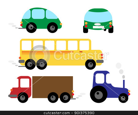 Set of vehicles - car, bus, tractor stock vector clipart, Set of vehicles - car, bus, tractor - cartoon illustrations / cliparts by orson