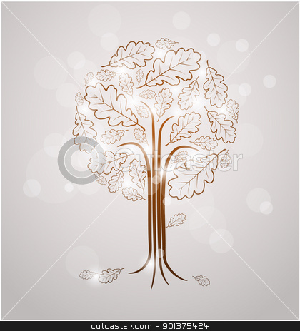 Vintage abstract tree drawing  stock vector clipart, Vintage abstract tree drawing made from oak leafs and white lights by orson