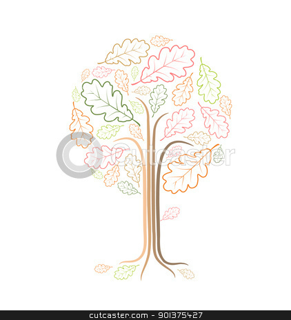 Vintage abstract tree drawing  stock vector clipart, Vintage abstract tree drawing made from oak leafs  by orson
