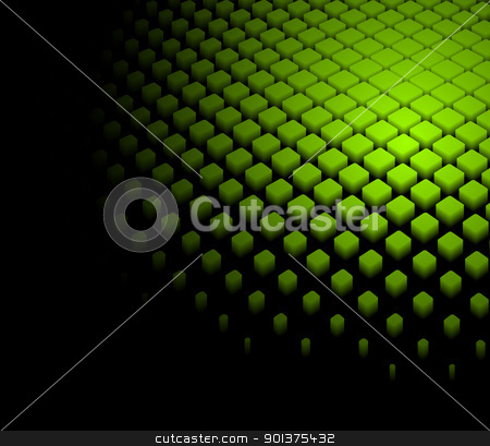 3d abstract dynamic green background  stock vector clipart, 3d abstract dynamic green background on black  by orson