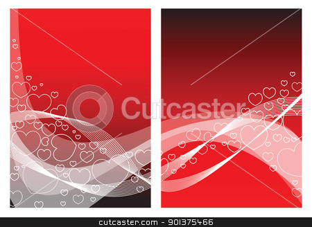 Love card with hearts stock vector clipart, Red love card with hearts by orson