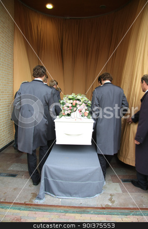 Funeral preparations stock photo, Funeral home employees preparing a casket for a funeral service by Porto Sabbia