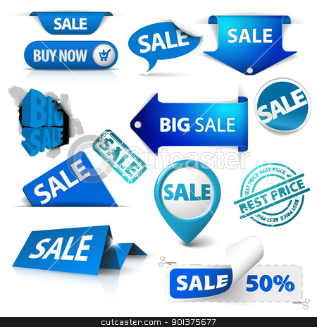Collection of blue sale tickets, labels, stamps, stickers stock vector clipart, Collection of blue sale tickets, labels, stamps, stickers, corners, tags on white background by orson