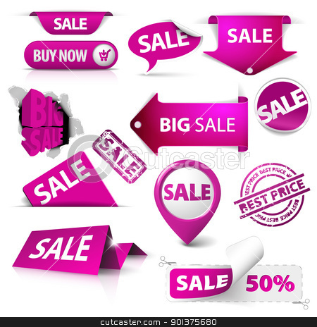 Collection of vector purple sale tickets, labels, stamps, stickers stock vector clipart, Collection of vector purple sale tickets, labels, stamps, stickers, corners, tags on white background by orson