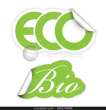 Set of eco and bio labels  stock vector clipart, Set of eco and bio labels for organic, fresh, healthy food by orson