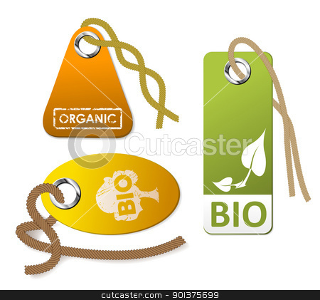 Set of tags for organic stock vector clipart, Set of tags for organic goods by orson