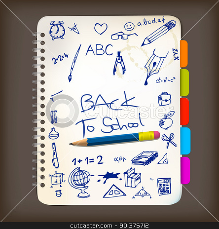Back to school poster with doodle illustrations stock vector clipart, Back to school poster with doodle illustrations on notepad by orson