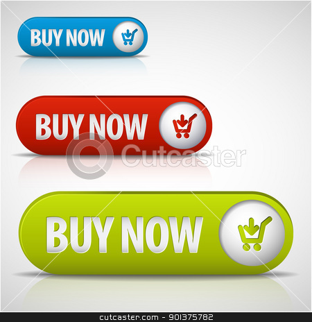 set of buy now buttons stock vector clipart, set of buy now buttons - red, green and blue by orson