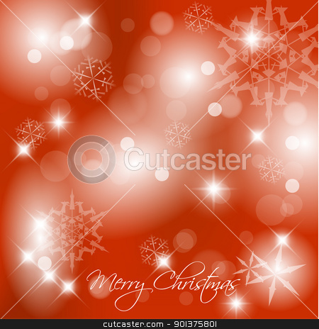Vector red Christmas background stock vector clipart, Vector red Christmas background with white snowflakes and place for your text by orson