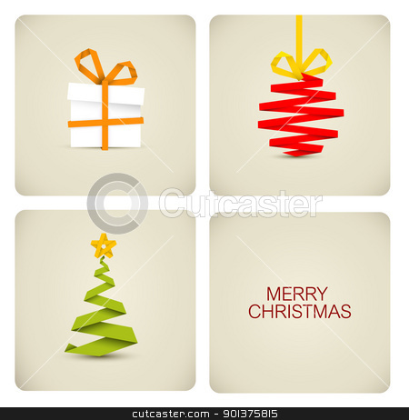 Simple vector christmas decoration made from paper stock vector clipart, Simple vector christmas decoration made from white paper stripe - original new year card by orson