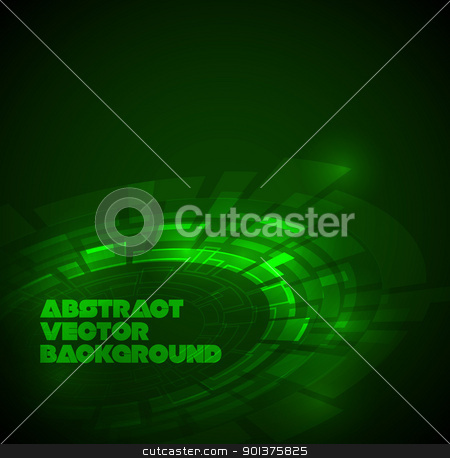 Abstract dark green technical background stock vector clipart, Abstract dark green technical background with place for your text by orson