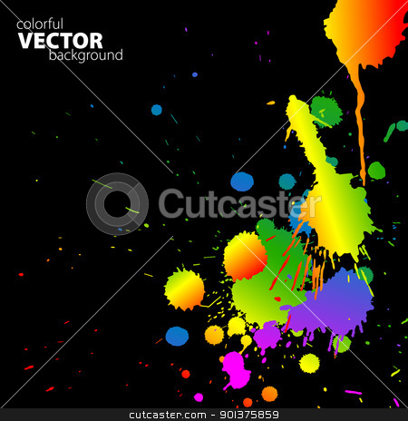 Vector rainbow background with splats stock vector clipart, Vector rainbow background with splats and place for your text  by orson