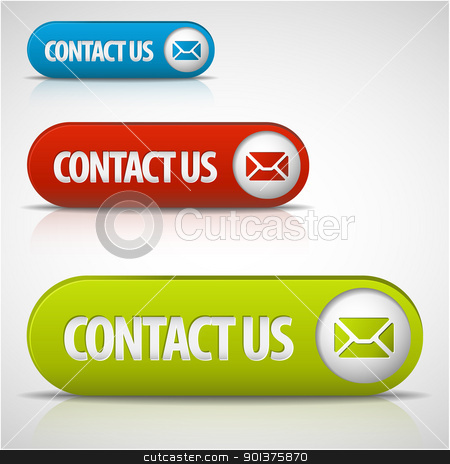 set of contact us buttons stock vector clipart, set of contact us buttons - red, green and blue by orson