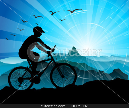 Biker Silhouette  with mountains  stock vector clipart, Biker Silhouette  with mountains and sunrise in the background by orson